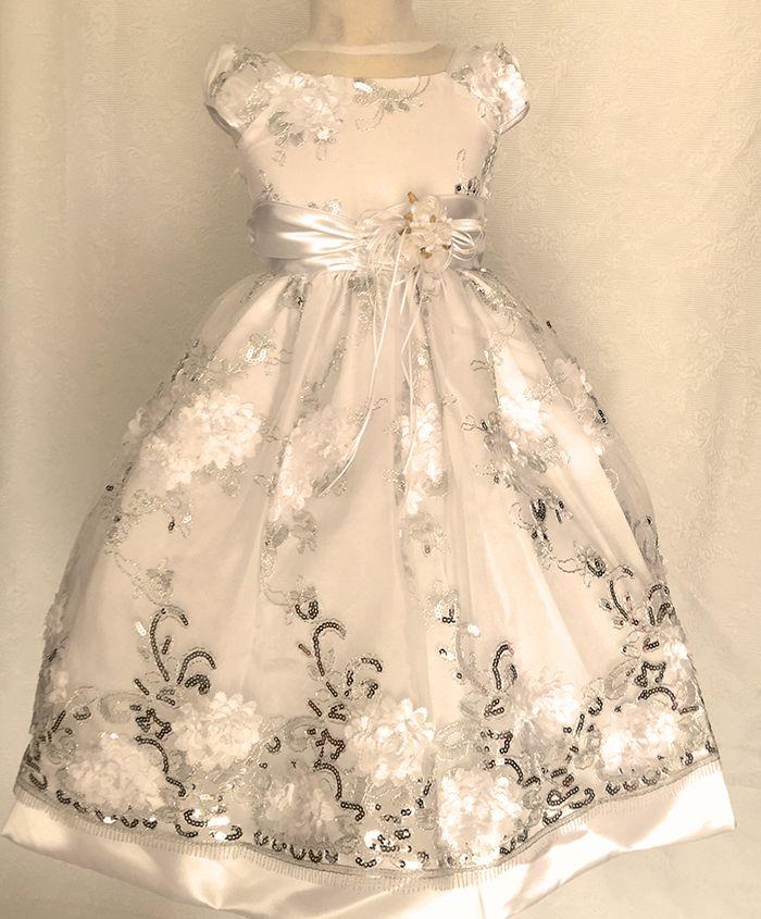 KO 348 23000.-Ft : Ezüst szállal szőtt koszorúslány gyerek ruha első áldozásra , esküvőre ,