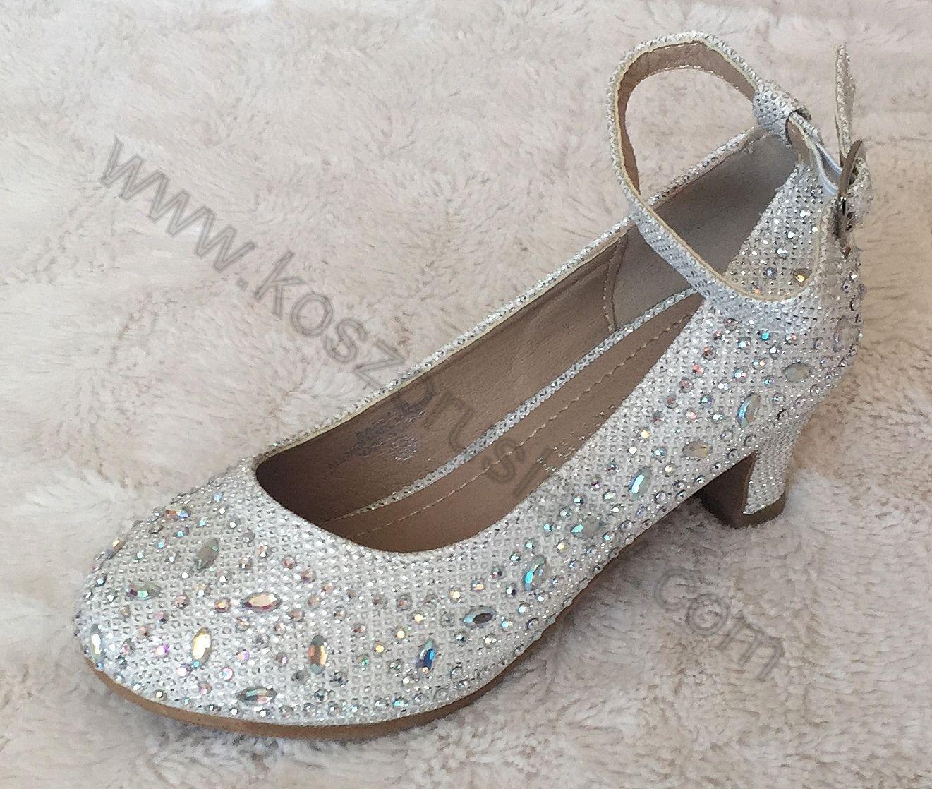 Cipő71 : swarovski kristályokkal flitterekkel díszített alkalmi kislány koszorúslány cipő kopogós vagy emelt sarokkal