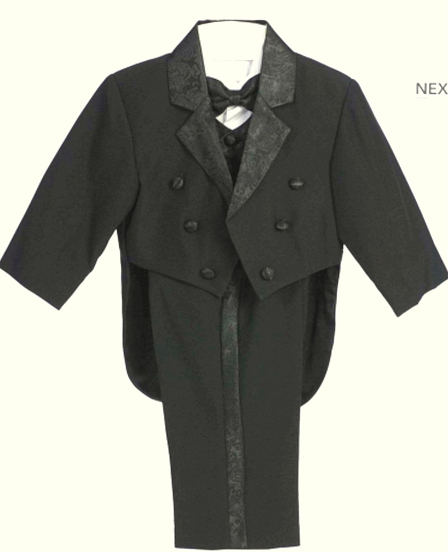 Kisfiú Szmoking 003 : fekete nyomott mintás selyem galléros frakk -szmoking