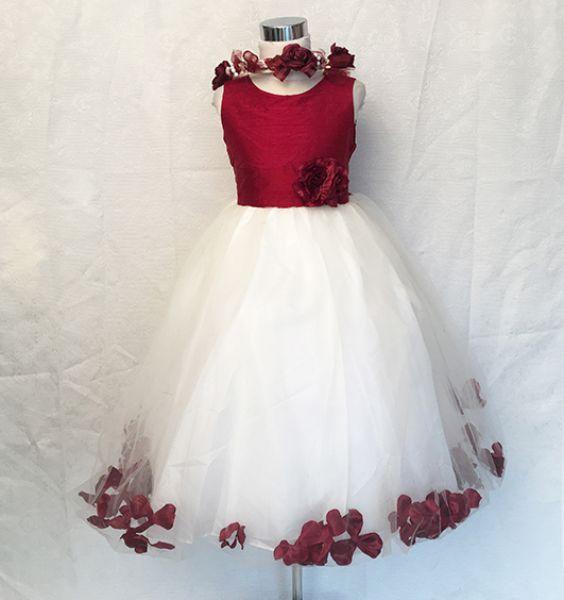 Koszorúslány ruha KO 002 : Virágos tűl -necces ruha bordó
